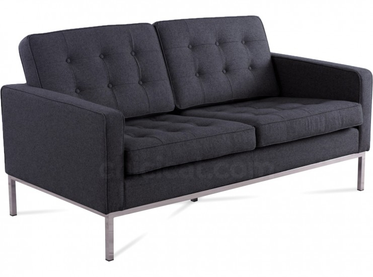 Florence Knoll Sofa 2 Seater Charcoal Wool (Platinum With Florence Large Sofas (View 3 of 15)