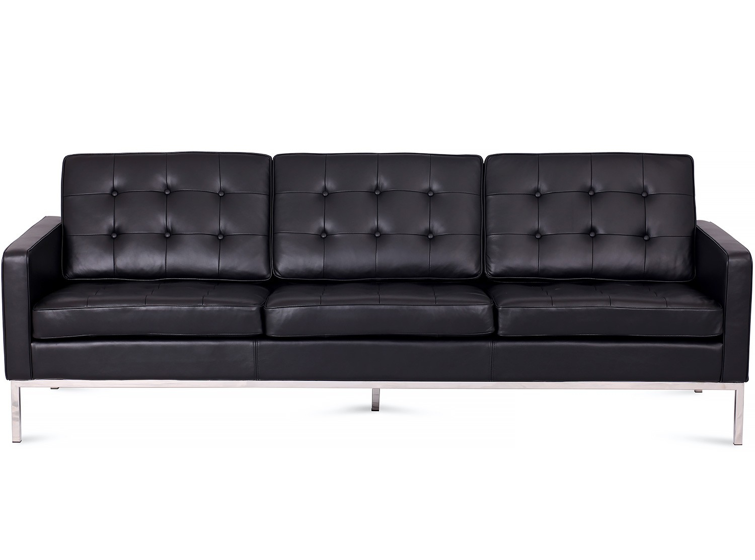 Florence Knoll Sofa 3 Seater Leather (Platinum Replica) Pertaining To Florence Leather Sofas (View 12 of 15)