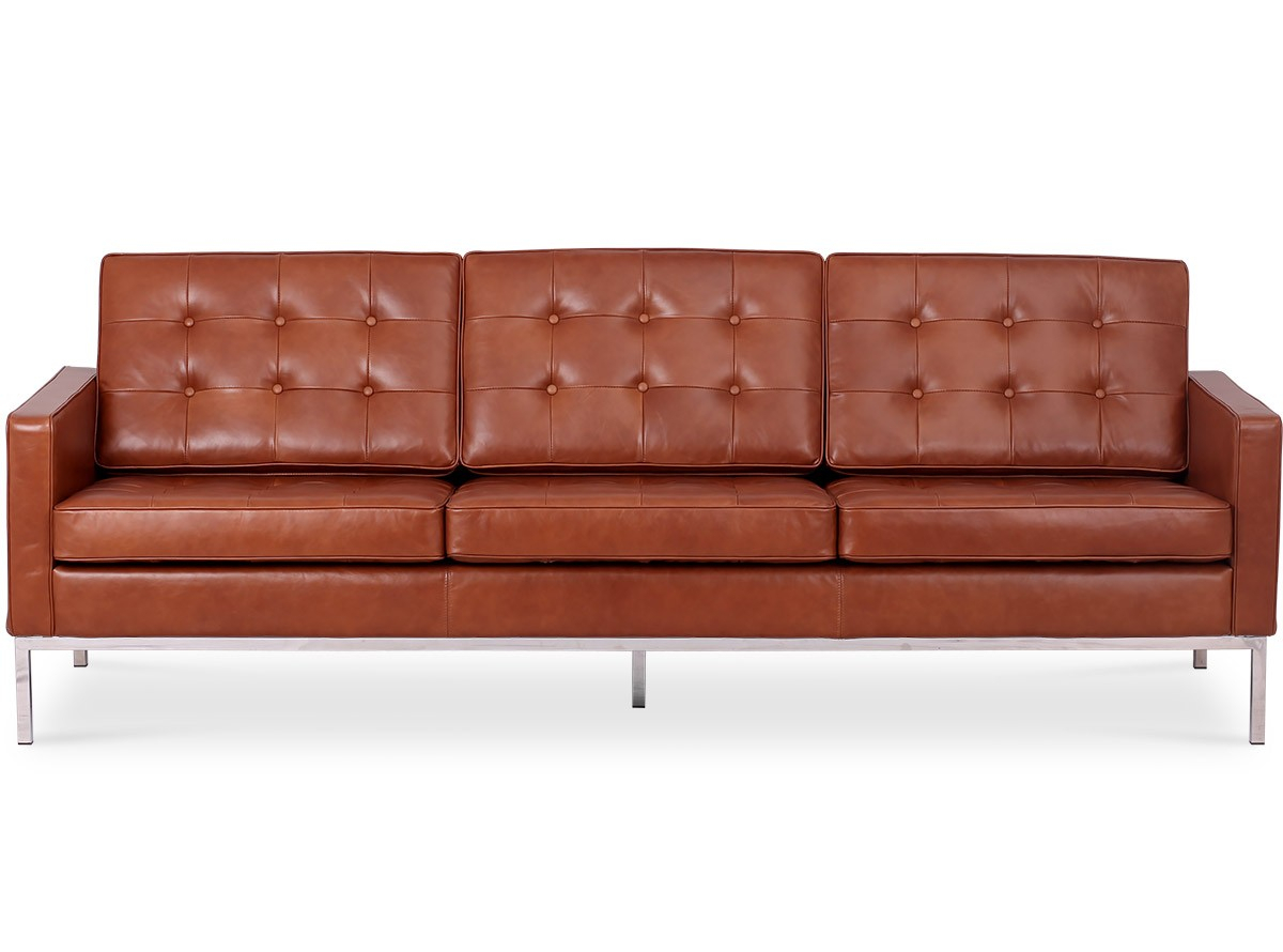 Florence Knoll Sofa 3 Seater Leather (Platinum Replica Throughout Florence Knoll Leather Sofas (View 4 of 15)