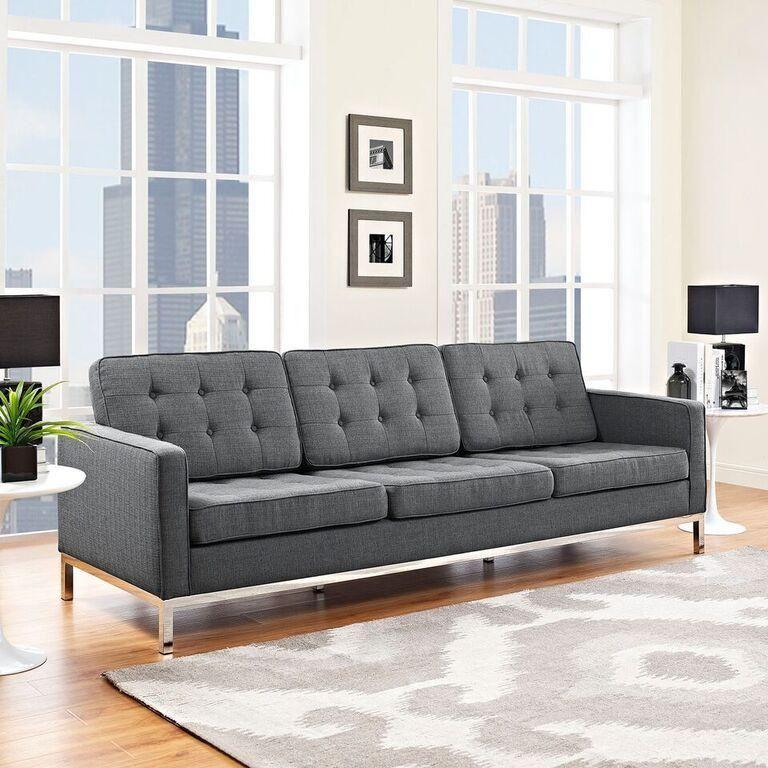 Florence Knoll Style Fabric Sofa   Fabric Sofa, Mid Throughout Florence Knoll Fabric Sofas (View 4 of 15)