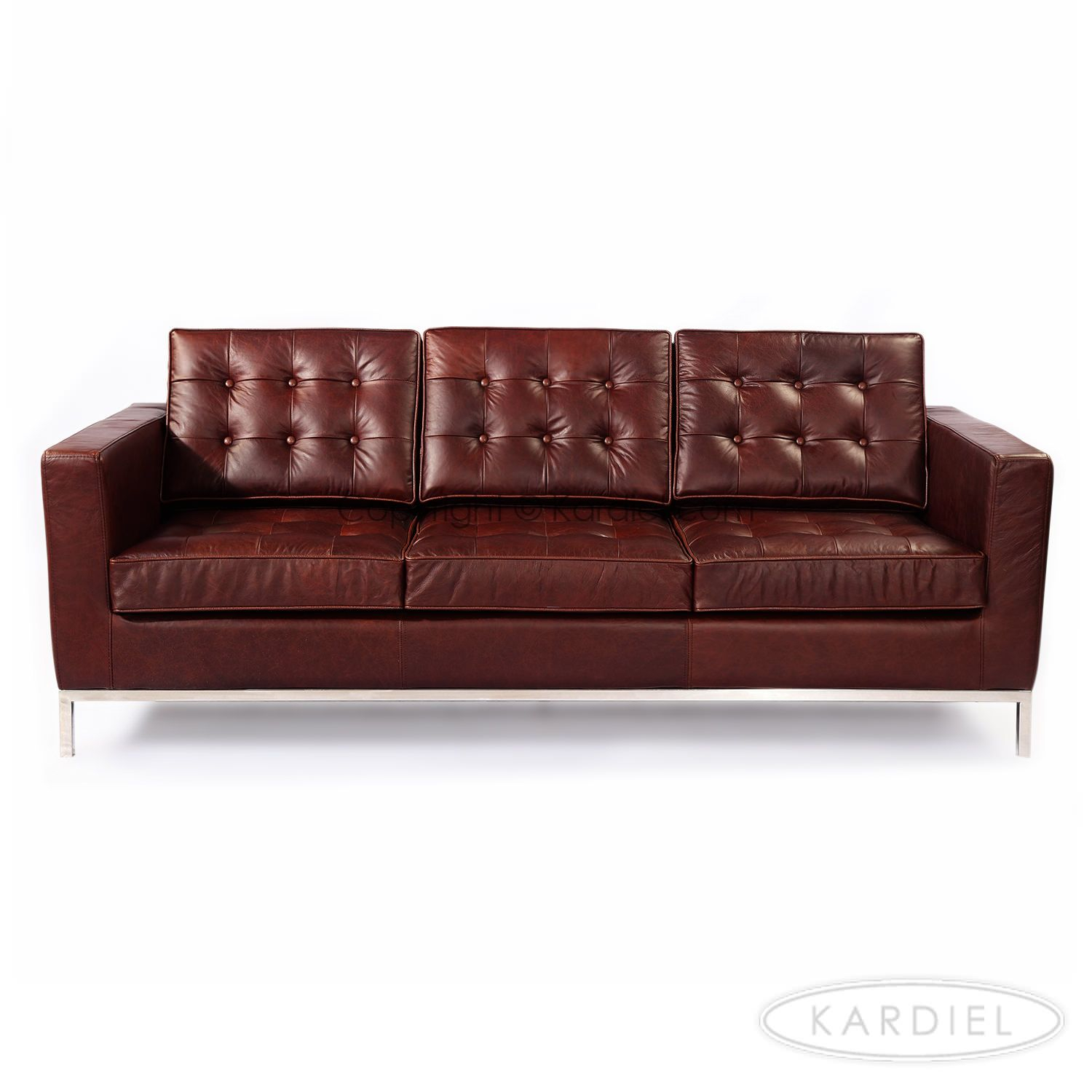 Florence Knoll Style Sofa 3 Seat, Vintage Brown Premium With Florence Knoll Leather Sofas (View 7 of 15)