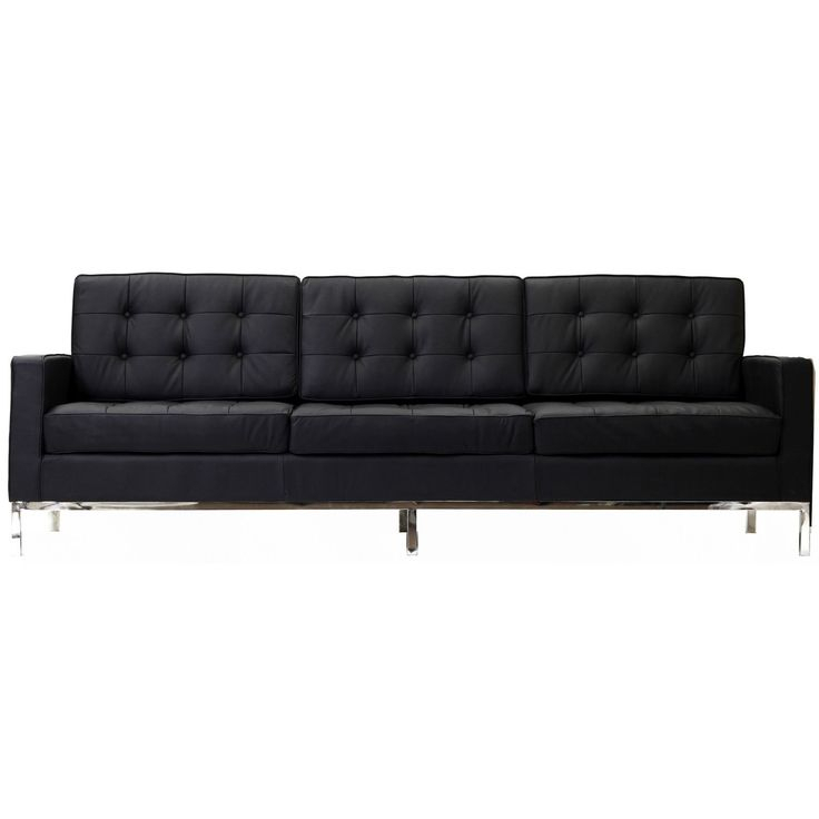 Florence Knoll Style Sofa Couch – Leather | Black Leather For Florence Large Sofas (View 1 of 15)