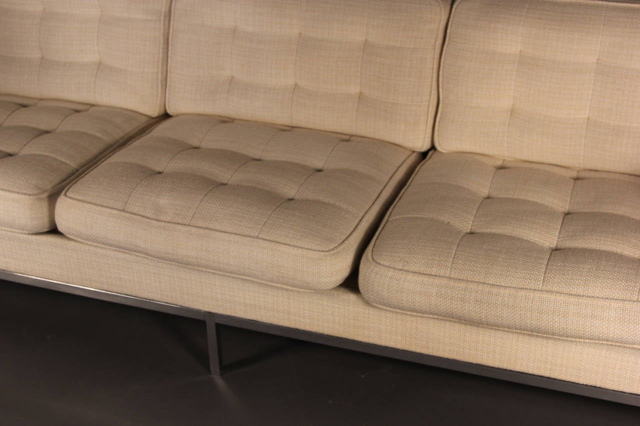 Florence Knoll Three Seat Sofa On Chrome Frame For Sale At Inside Florence Knoll Fabric Sofas (View 11 of 15)
