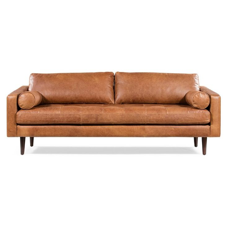 Florence Mid Century Modern Sofa Cognac Tan – Poly & Bark With Florence Mid Century Modern Right Sectional Sofas (View 4 of 15)