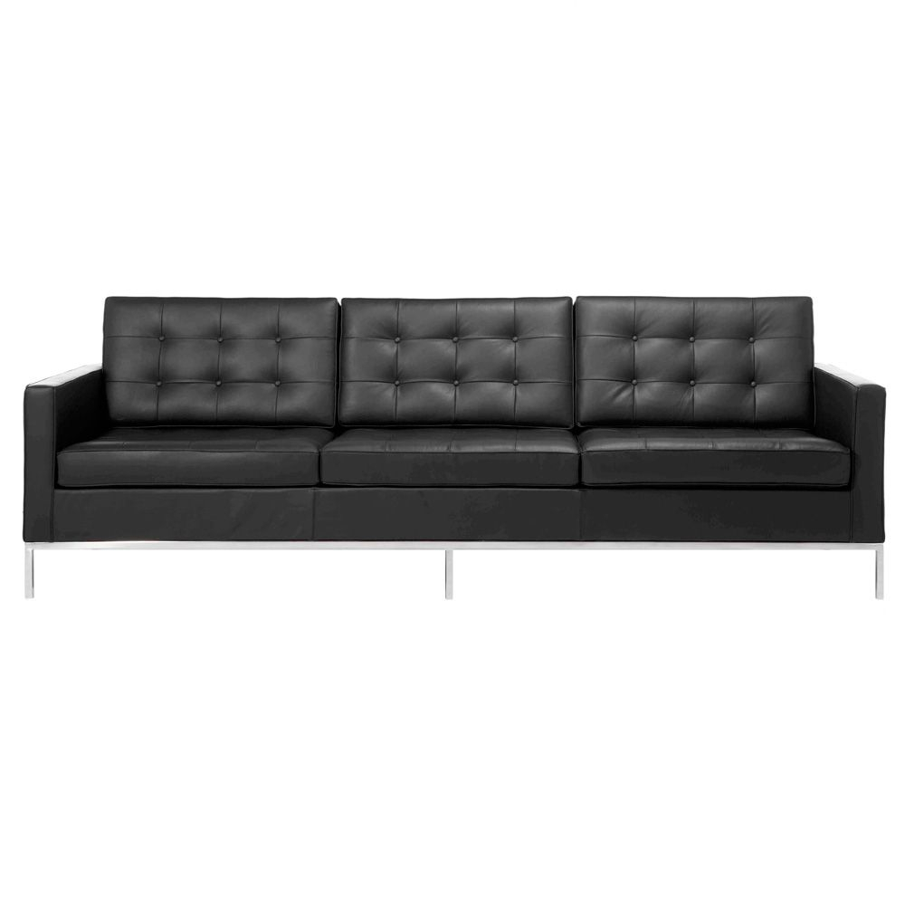 Florence Sofa Black Leather | Genuine Leather Sofa, Sofa In Florence Leather Sofas (View 7 of 15)