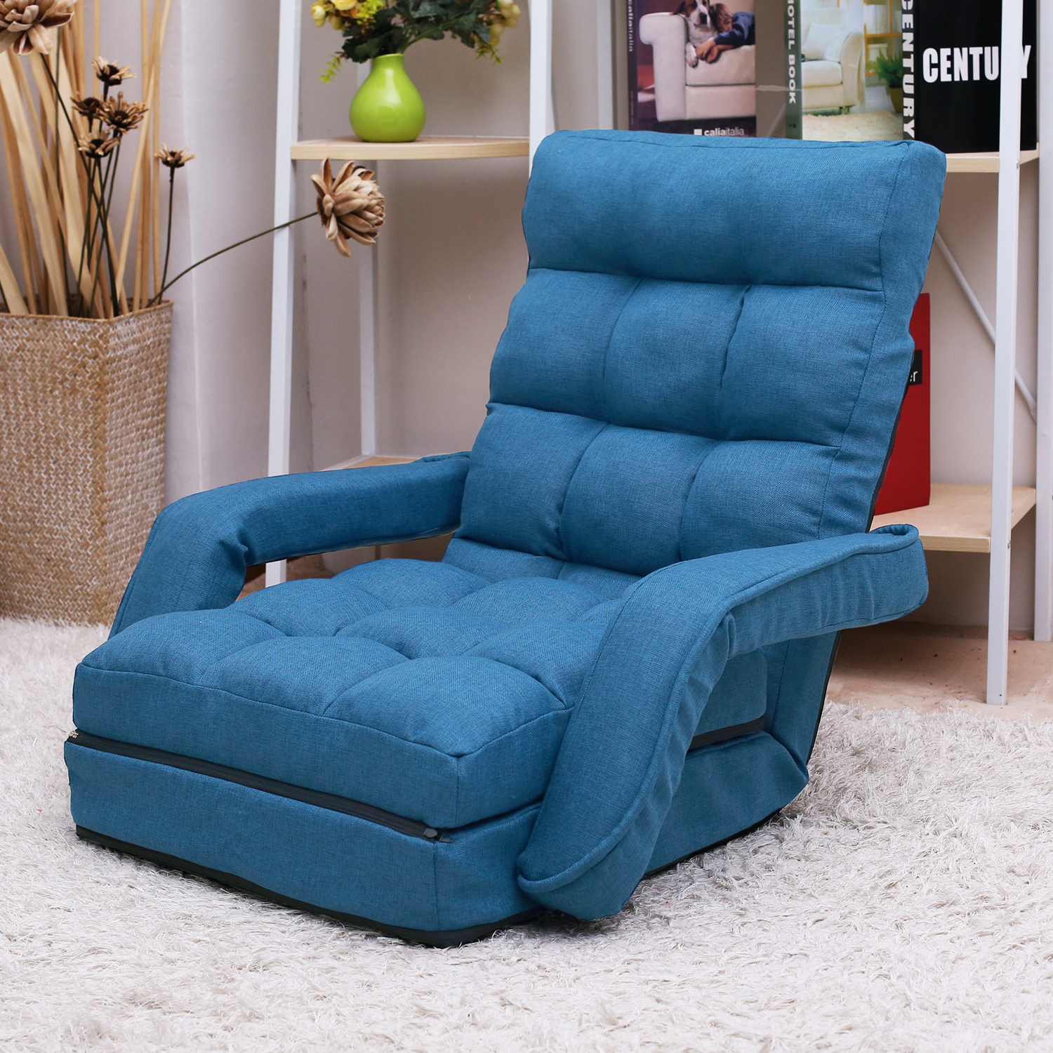 Folding Floor Chair Set With Adjustable Backrest And Within Folding Sofa Chairs (View 7 of 15)