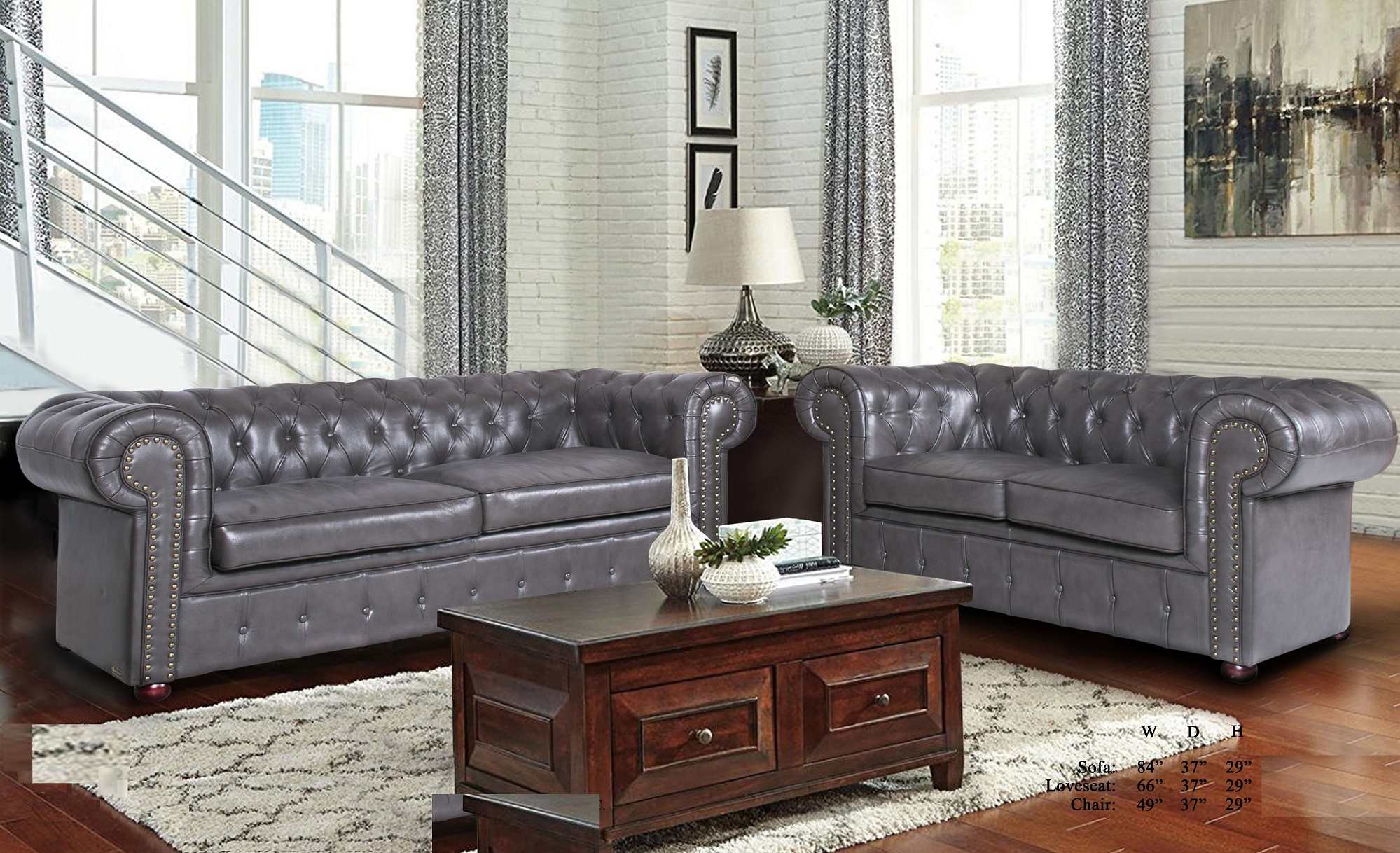 Formal Luxurious Living Room Furniture Gray 2Pc Sofa Set Within Sofa Chairs For Living Room (View 4 of 15)