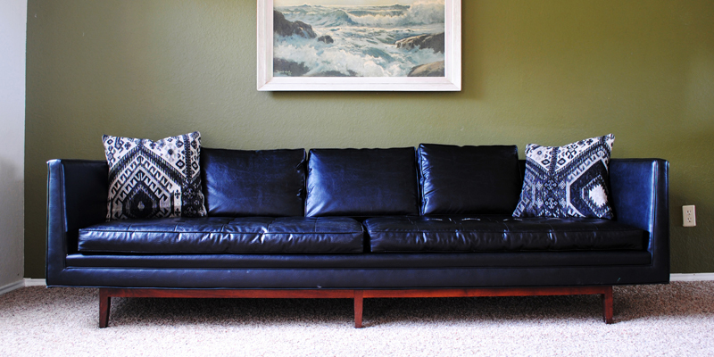 """Found: Mid Century Modern Black """"Leather"""" Sofa – The With Regard To Dove Mid Century Sectional Sofas Dark Blue (View 15 of 15)"""