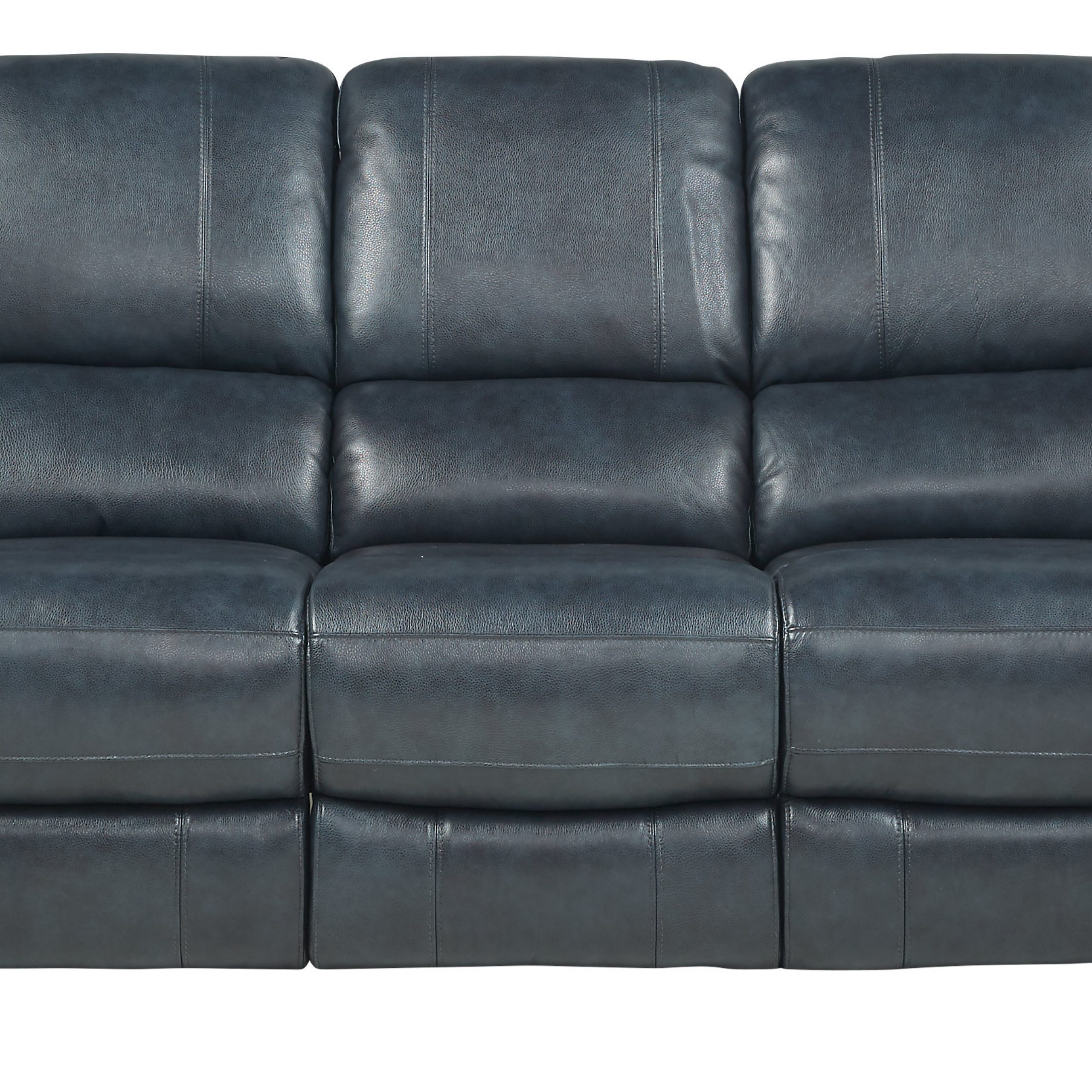 Frederickburg Blue Leather Power Reclining Sofa – Traditional, With Regard To Power Reclining Sofas (View 3 of 15)