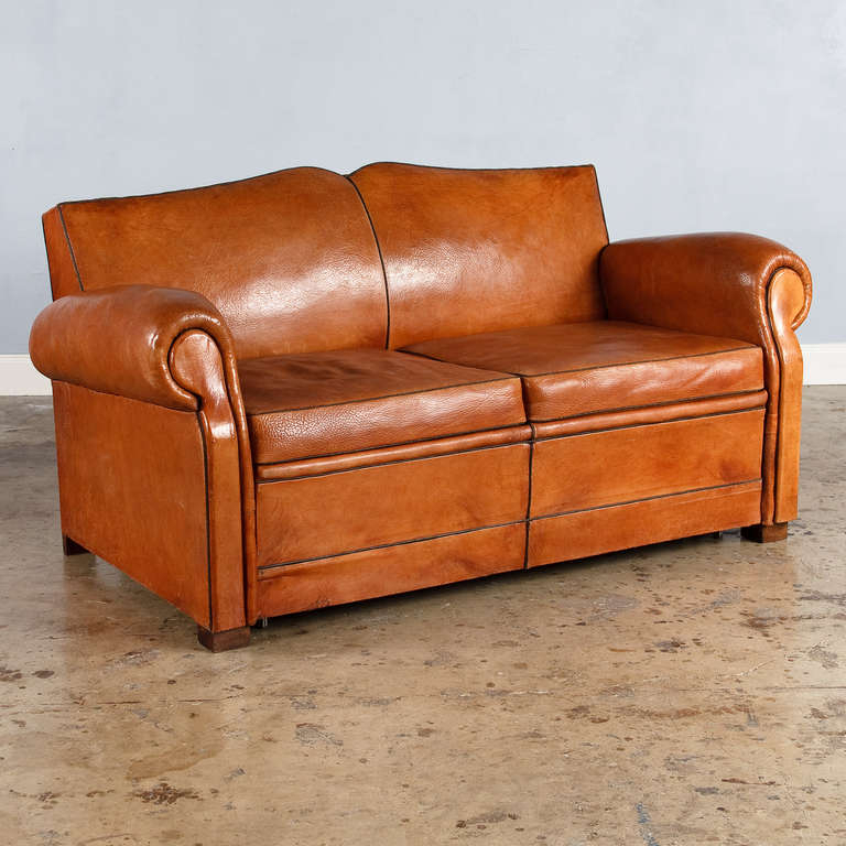 French Art Deco Leather Club Sofa, 1930S At 1Stdibs Intended For 1930S Sofas (Photo 4 of 15)