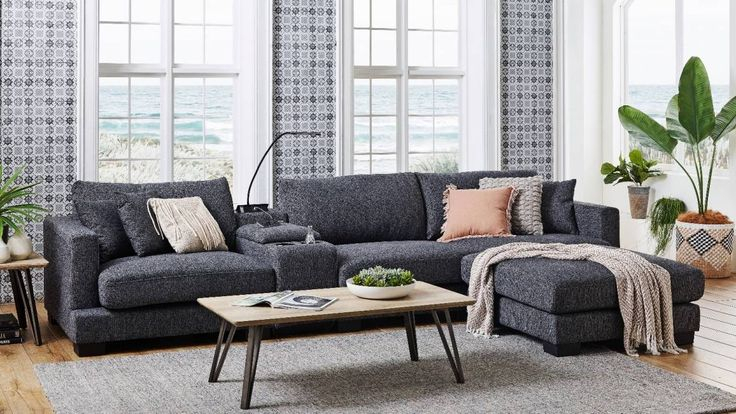 Frontier 3 Seater Fabric Sofa With Console | Fabric Sofa Intended For Harmon Roll Arm Sectional Sofas (View 14 of 15)