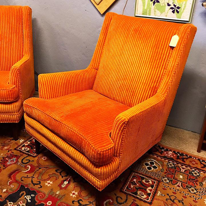 Fun Retro Orange Velvet Lounge Chair – Kudzu Antiques Within Retro Sofas And Chairs (View 3 of 15)
