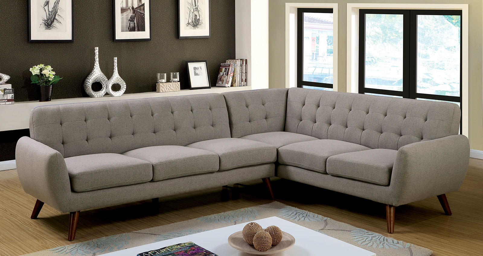 Furniture Of America 6144 Gray Mid Century Modern Inside Mireille Modern And Contemporary Fabric Upholstered Sectional Sofas (View 12 of 15)