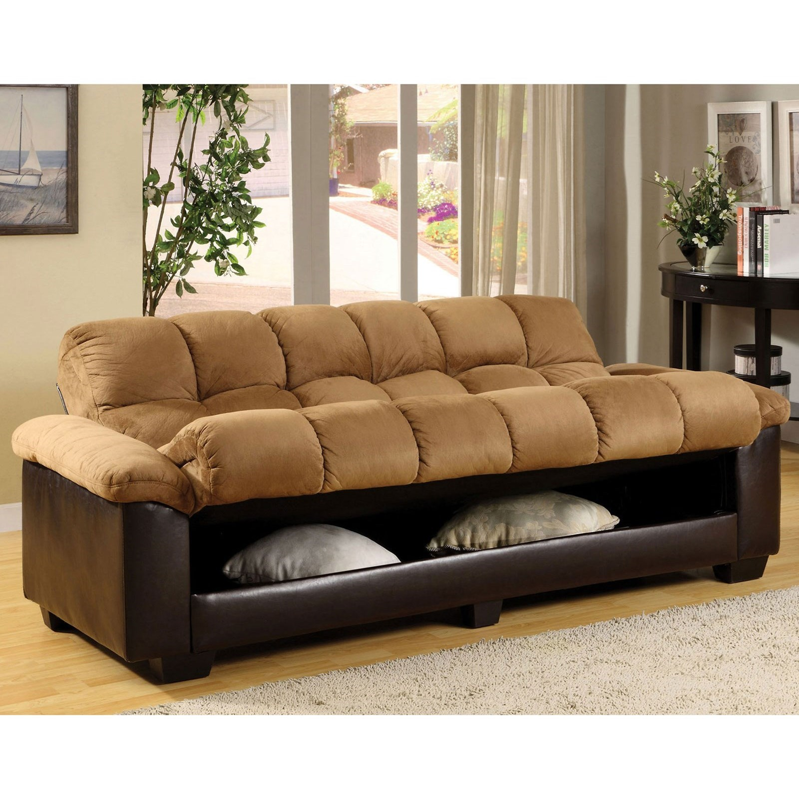 Furniture Of America Brantford Cm6685 Pu Ca Pk Convertible Throughout Convertible Sofas (View 9 of 15)