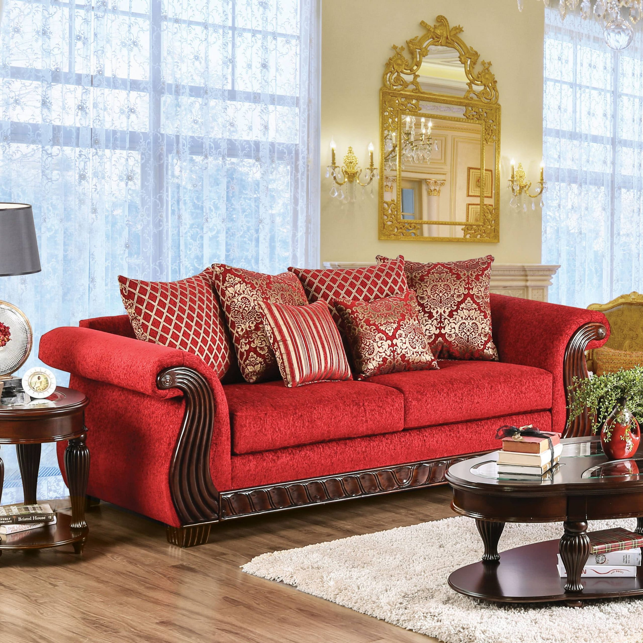 Furniture Of America Ferga Traditional Wood Trim Ruby Red Pertaining To Red Sofas (View 2 of 15)