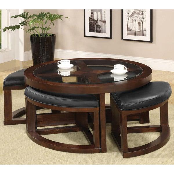 Furniture Of America Gracie Dark Walnut 5 Piece Coffee With Regard To Gracie Chocolate Sofas (View 11 of 15)