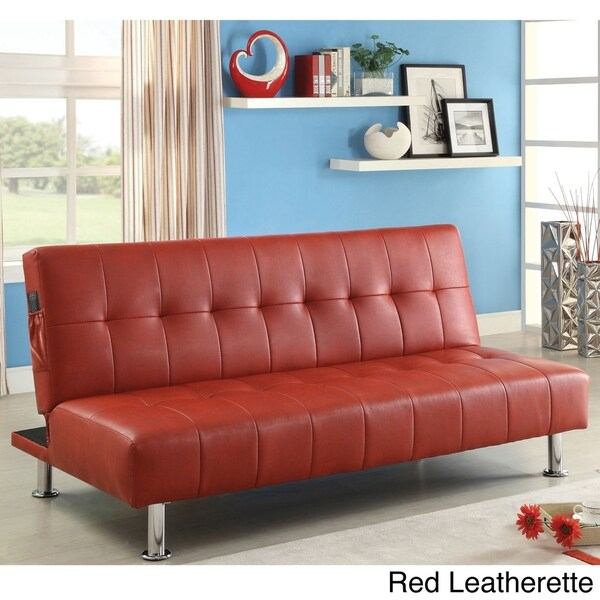 Furniture Of America Oray Modern Black Leatherette Tufted Regarding Celine Sectional Futon Sofas With Storage Camel Faux Leather (View 9 of 15)