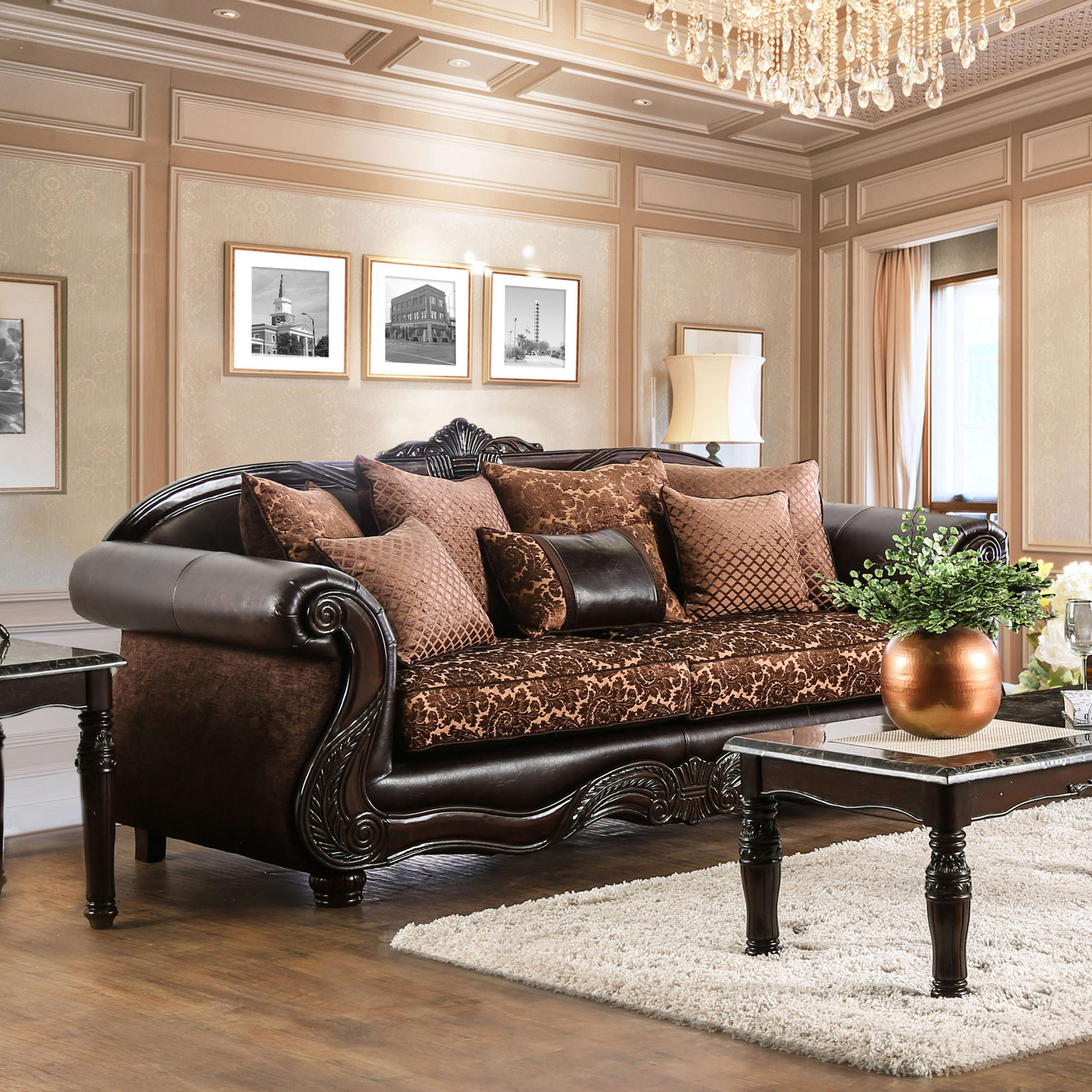 Furniture Of America Traditional Faux Leather Hannon Sofa For Brown Sofa Chairs (View 1 of 15)