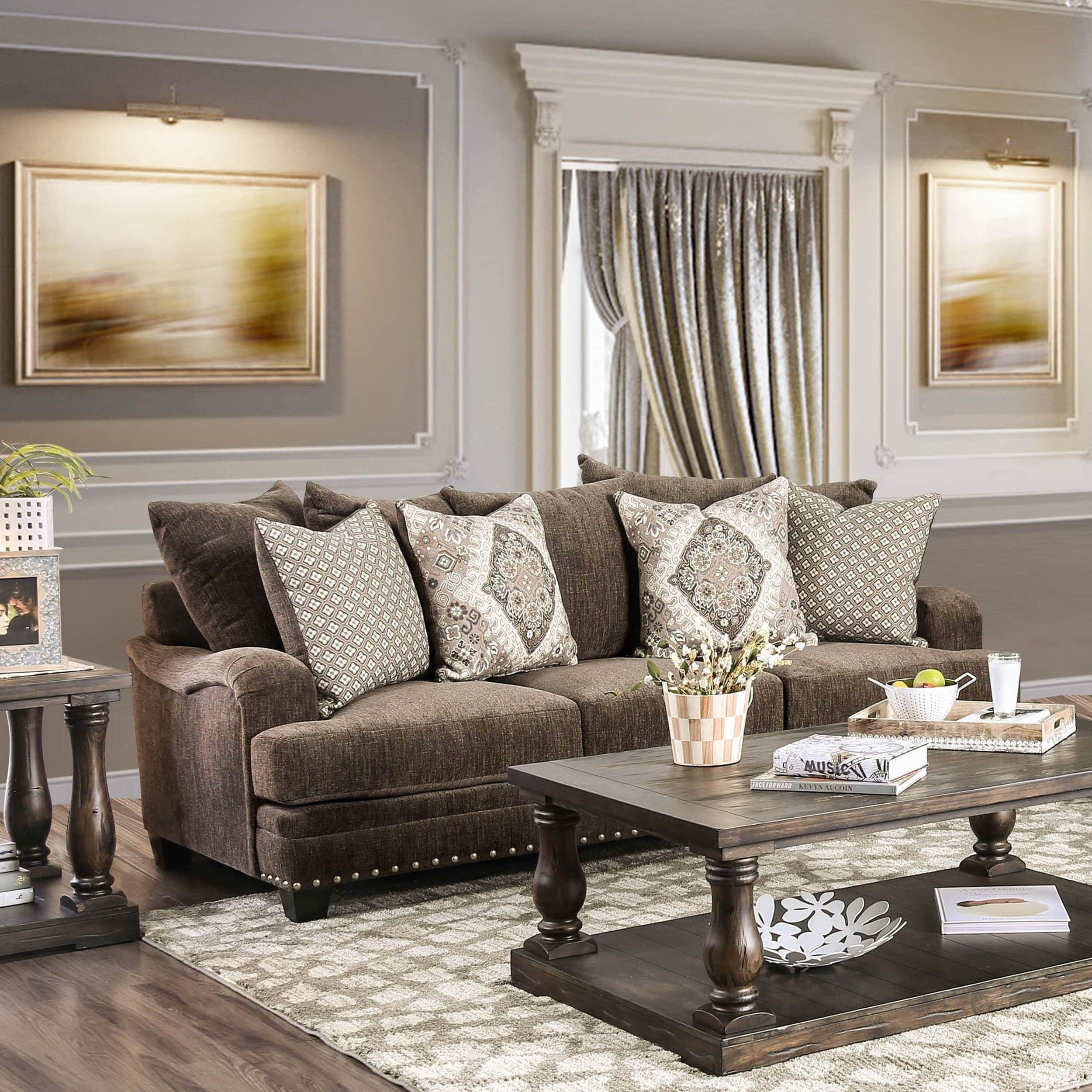 Furniture Of America Vizi Traditional Chenille Upholstered Regarding Sofa With Chairs (View 4 of 15)