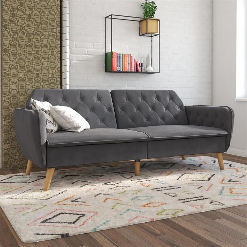 Futons, Convertible Sofa Futons | Home Square Intended For Celine Sectional Futon Sofas With Storage Camel Faux Leather (View 6 of 15)