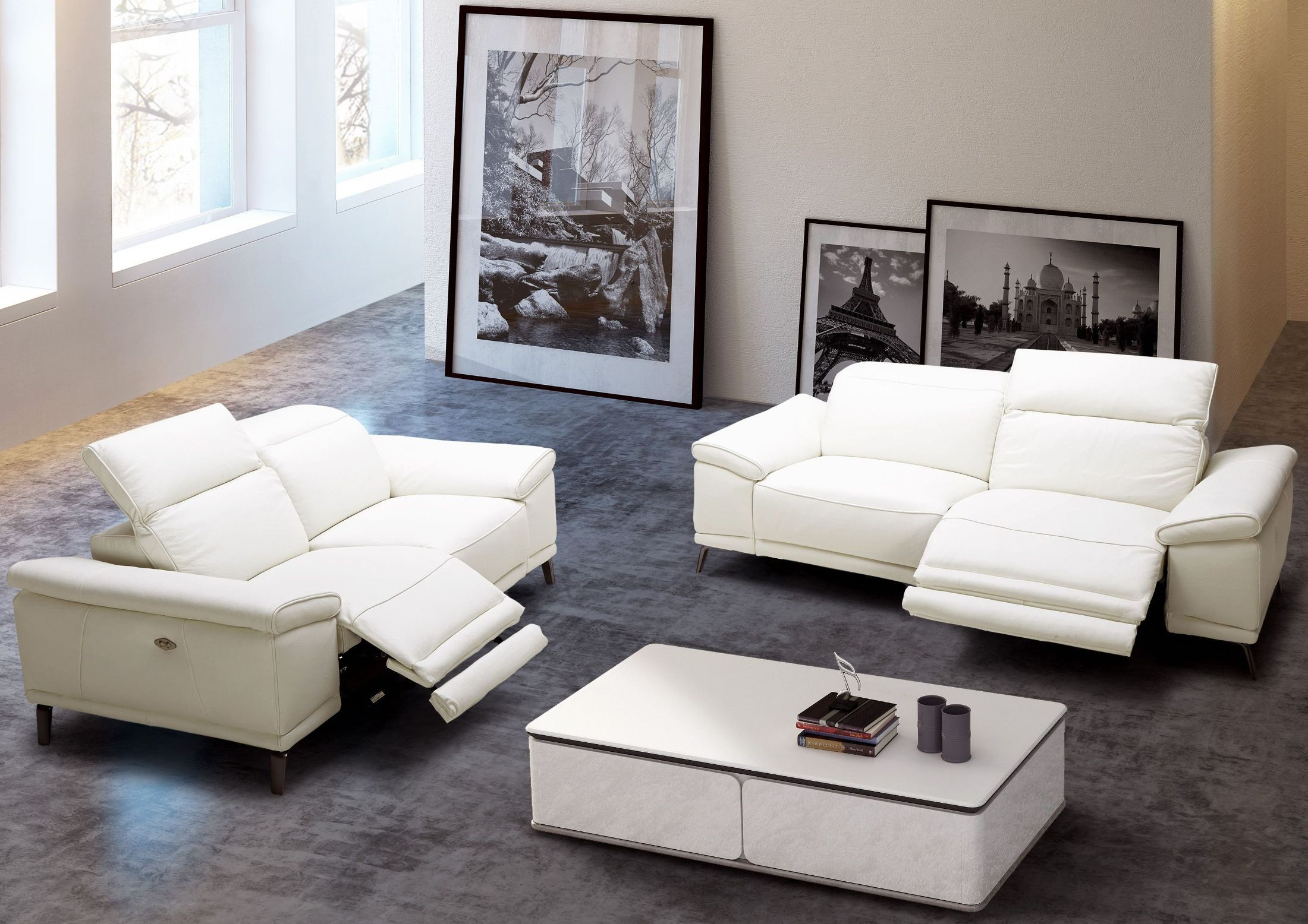 Gaia White Leather Power Reclining Sofa – 1Stopbedrooms (View 8 of 15)