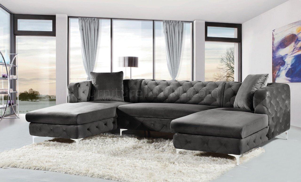 Gail Sectional Sofa 664 In Grey Velvet Fabricmeridian Throughout Strummer Velvet Sectional Sofas (View 5 of 15)