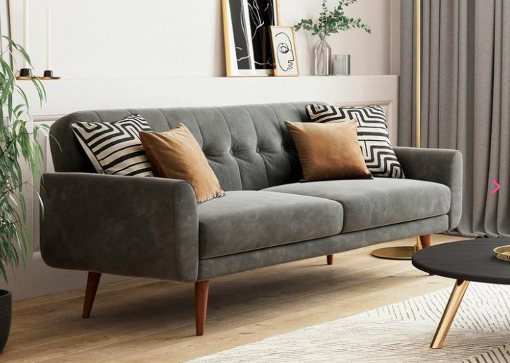 Gallway 3 Seater Sofa Bed – Navy Velvet | Navy | Colour Within Dream Navy 3 Piece Modular Sofas (View 11 of 15)