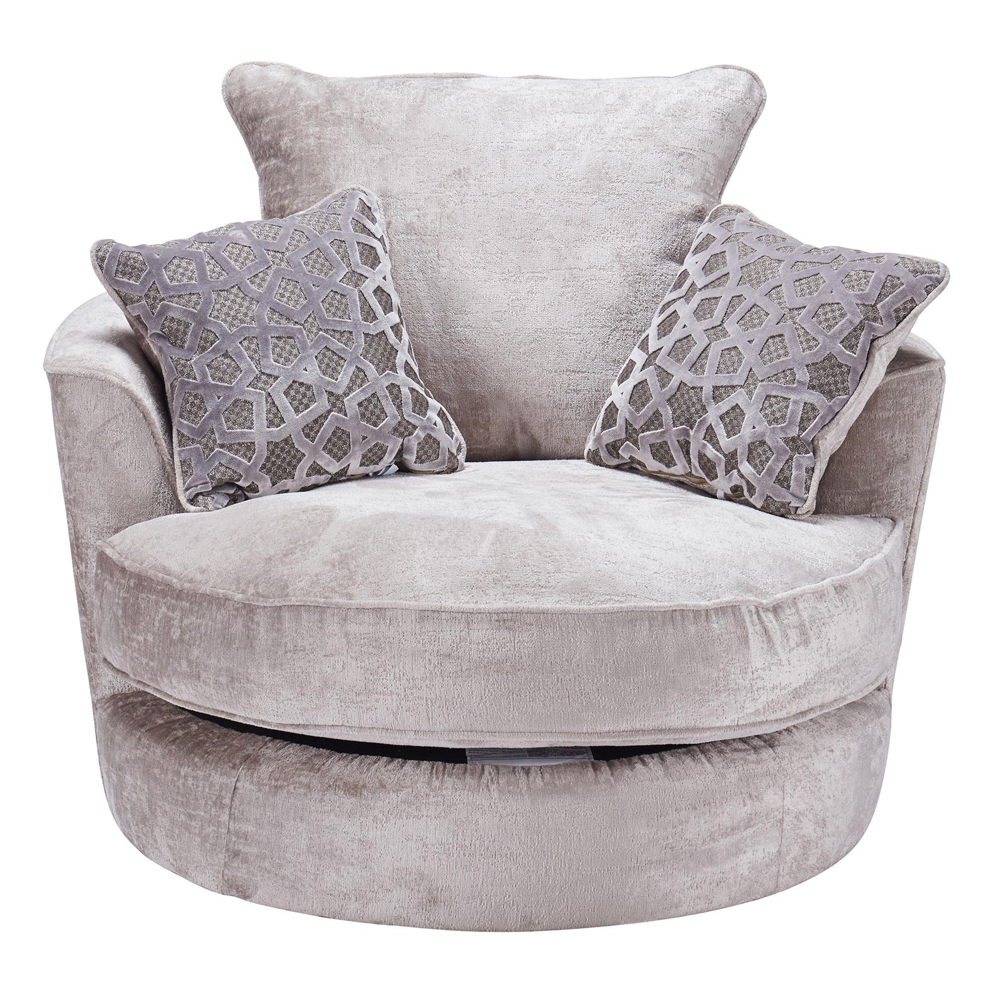 Genus Silver Fabric Swivel Cuddler Chair Inside Cuddler Swivel Sofa Chairs (View 5 of 15)