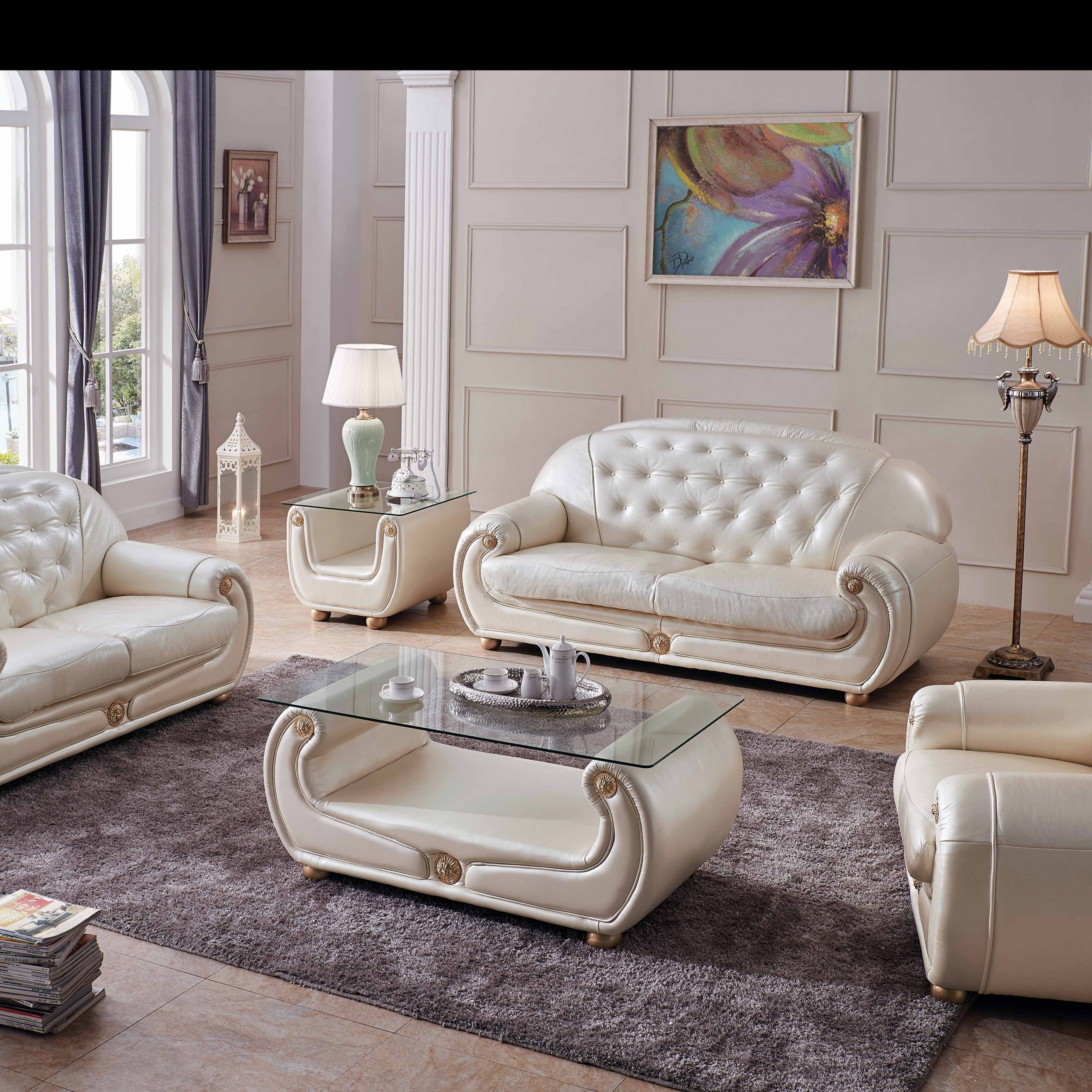 Giza Full Leather In Beige, Sofas Loveseats And Chairs With Regard To Living Room Sofa And Chair Sets (View 5 of 15)