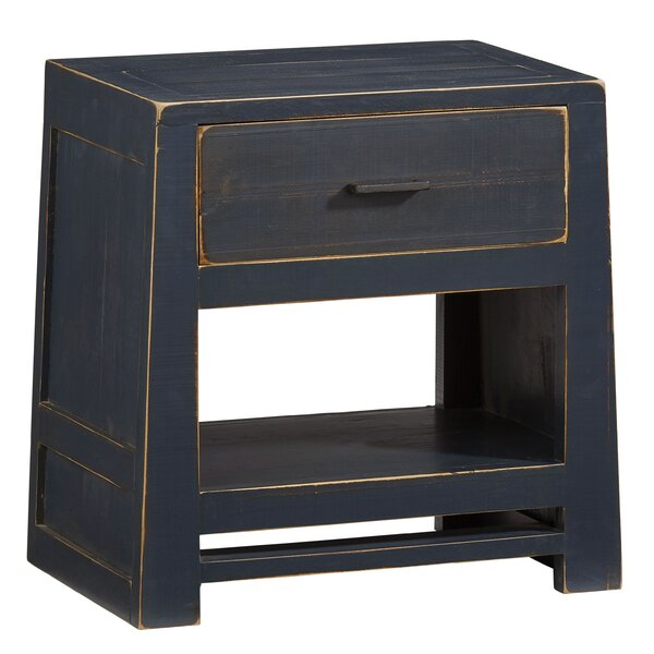 Gracie Oaks Aegon 1 – Drawer Solid Wood Nightstand In Navy Within Gracie Navy Sofas (View 7 of 15)