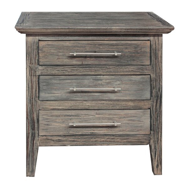 Gracie Oaks Aneres 3 – Drawer Solid Wood Nightstand In Regarding Gracie Chocolate Sofas (View 8 of 15)