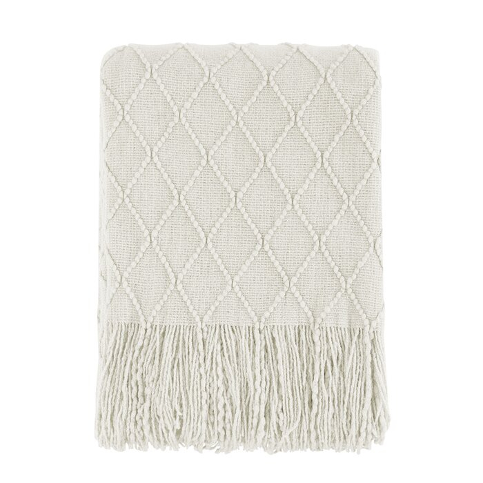Gracie Oaks Beige Throw Blanket Textured Solid Soft Sofa With Gracie Navy Sofas (View 15 of 15)