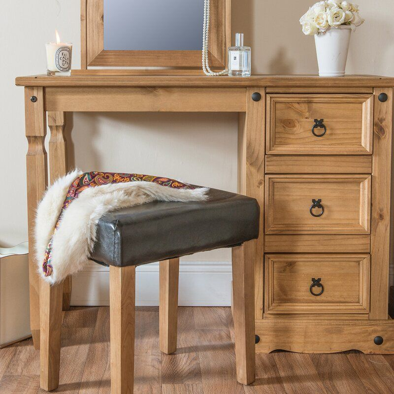Gracie Oaks Cavazos Solid Wood Vanity & Reviews | Wayfair For Gracie Chocolate Sofas (View 1 of 15)
