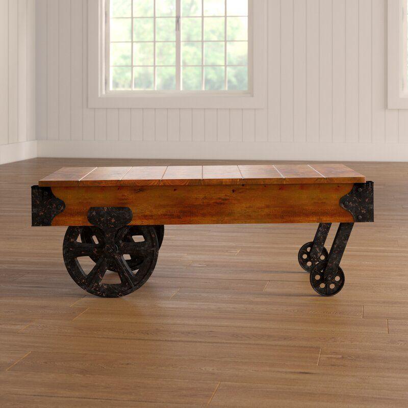 Gracie Oaks Hardrigg Cart Coffee Table & Reviews | Wayfair Within Gracie Chocolate Sofas (View 2 of 15)