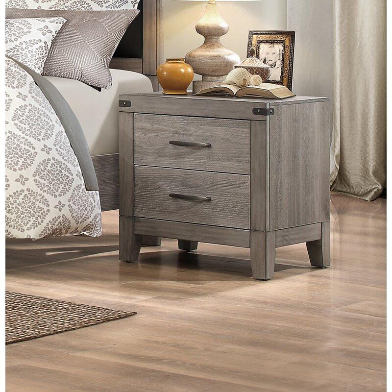Gracie Oaks Hooksett 2 – Drawer Nightstand In Grey Brown In Gracie Chocolate Sofas (View 13 of 15)
