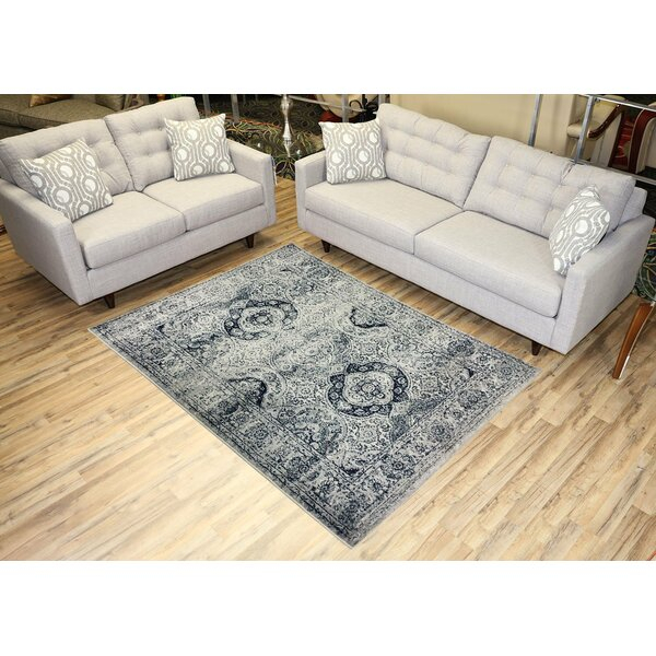 Gracie Oaks Karlstad Oriental Navy Blue/Ivory Area Rug Intended For Gracie Navy Sofas (View 3 of 15)