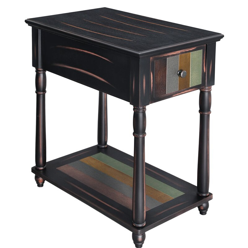 Gracie Oaks Narrow End Table With Drawer, 3 Tier With Gracie Chocolate Sofas (View 12 of 15)