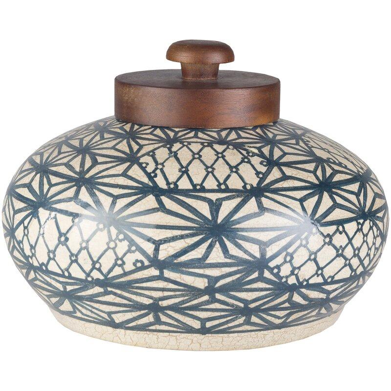 Gracie Oaks Sherley Navy/Beige 8'' Terracotta Jar | Wayfair (View 12 of 15)