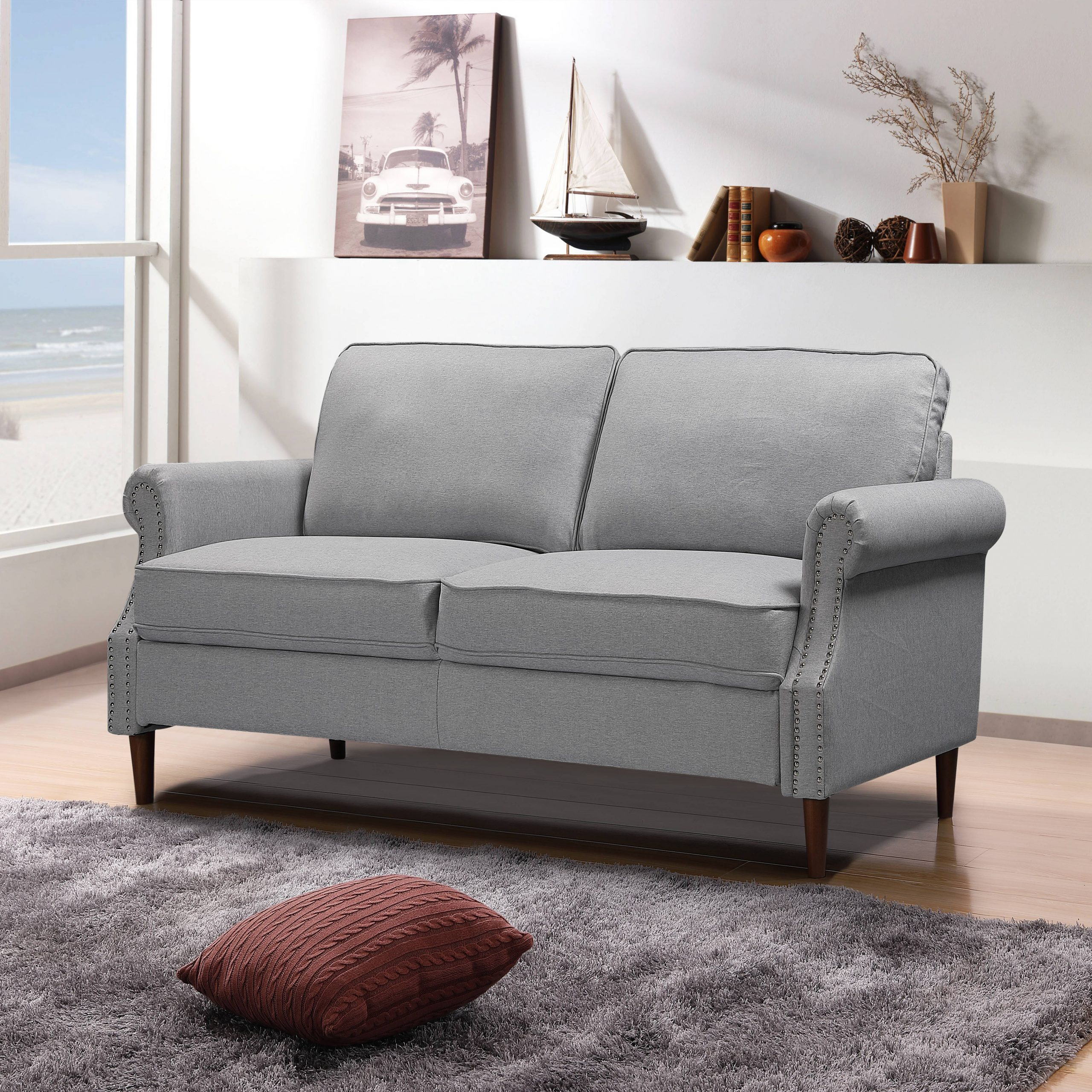 Gray Loveseat, Modern Linen Farbic Sofas For Small Spaces With Regard To Sofa Chairs For Bedroom (View 1 of 15)