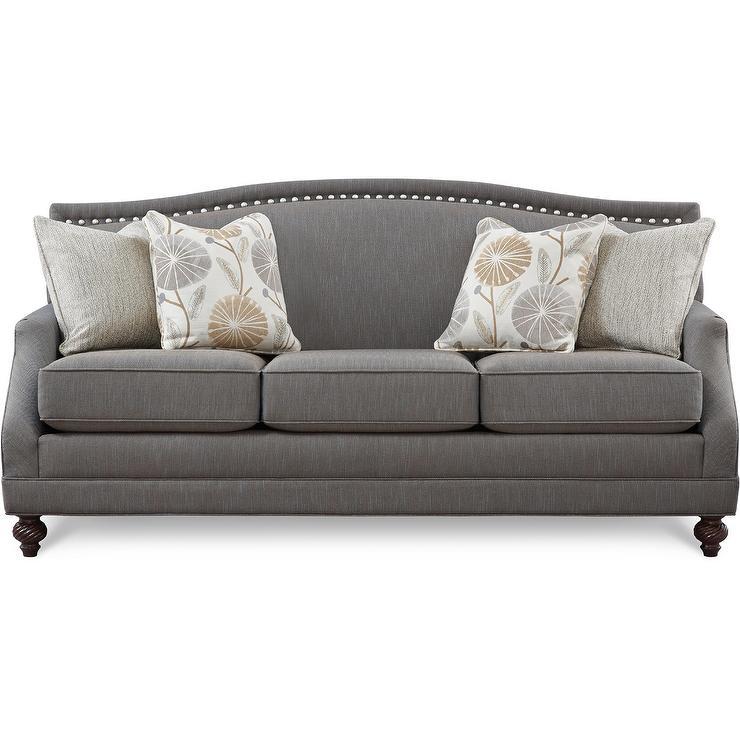 Gray Nailhead Sofa Gray Sofa With Nailhead Trim Velvet Regarding 2Pc Polyfiber Sectional Sofas With Nailhead Trims Gray (View 6 of 15)