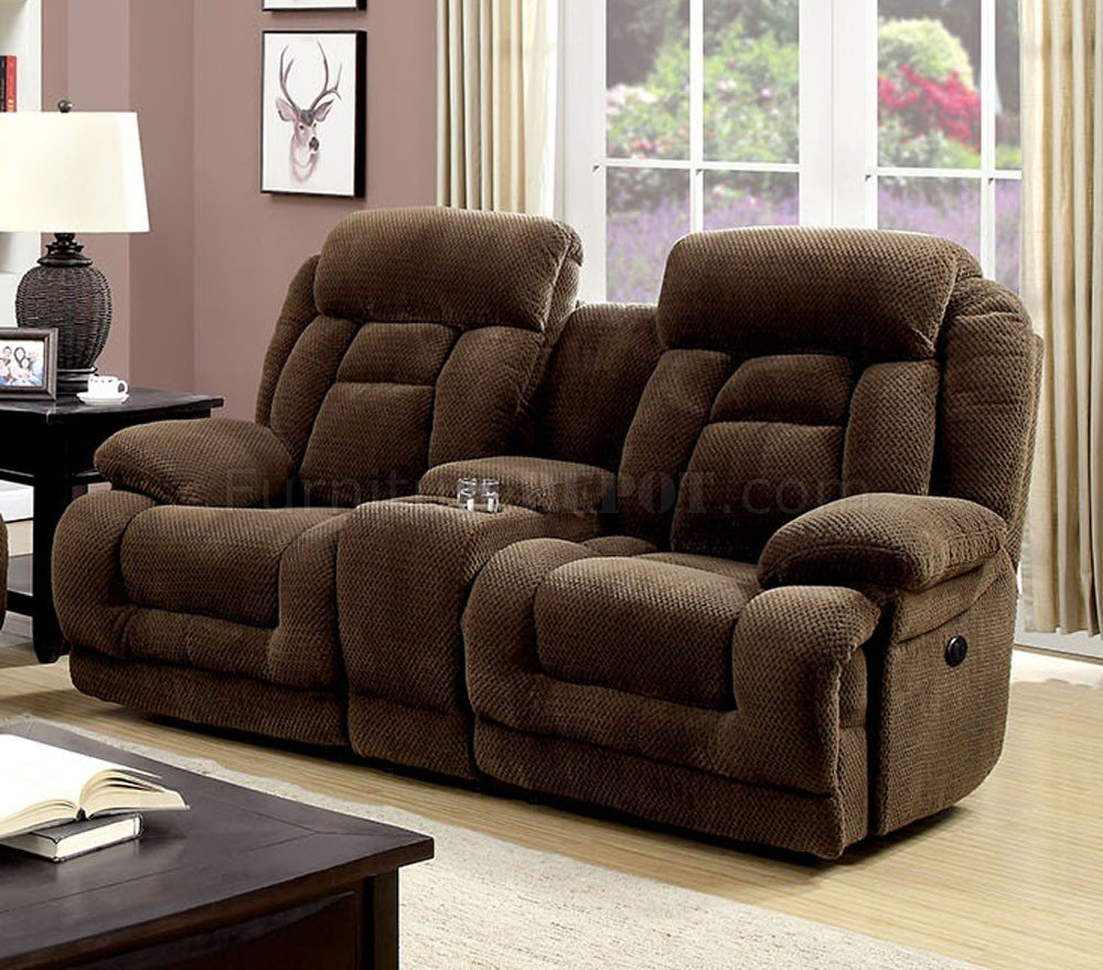 Grenville Power Reclining Sofa Cm6010Pm In Brown Fabric W Within Power Reclining Sofas (View 12 of 15)