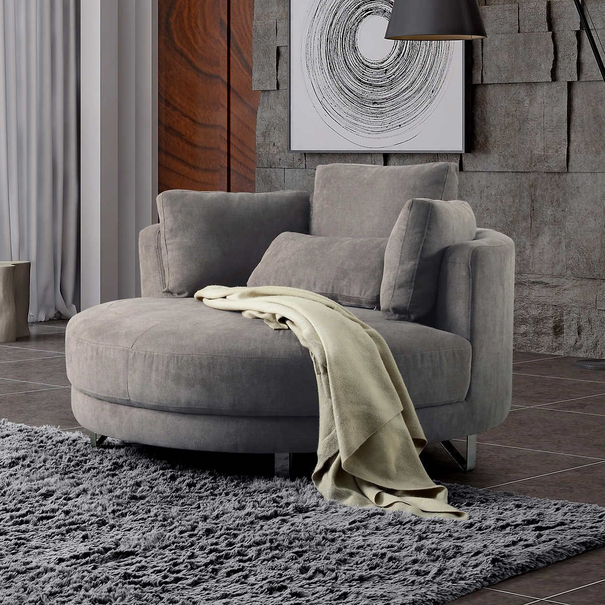 Grey 1 | Cuddler Chair, Chair, Comfy Accent Chairs Pertaining To Cuddler Swivel Sofa Chairs (View 6 of 15)