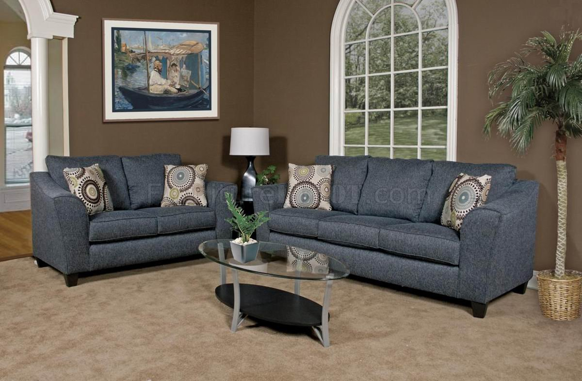 Grey Fabric Modern Loveseat & Sofa Set W/Options Inside Sofas And Chairs (View 6 of 15)