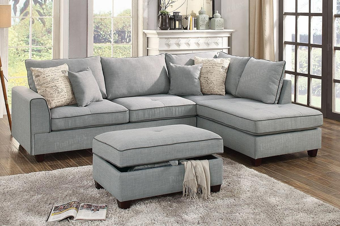 Grey Fabric Sectional Sofa And Ottoman – Steal A Sofa For Grey Sofa Chairs (View 10 of 15)