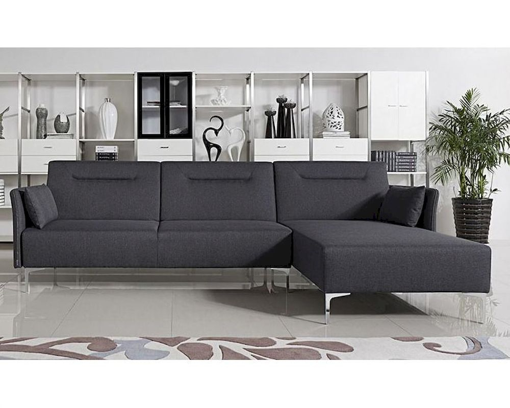 Grey Fabric Sofa Bed Sectional In Contemporary Style 44L5951 Throughout Fabric Sofas (View 12 of 15)
