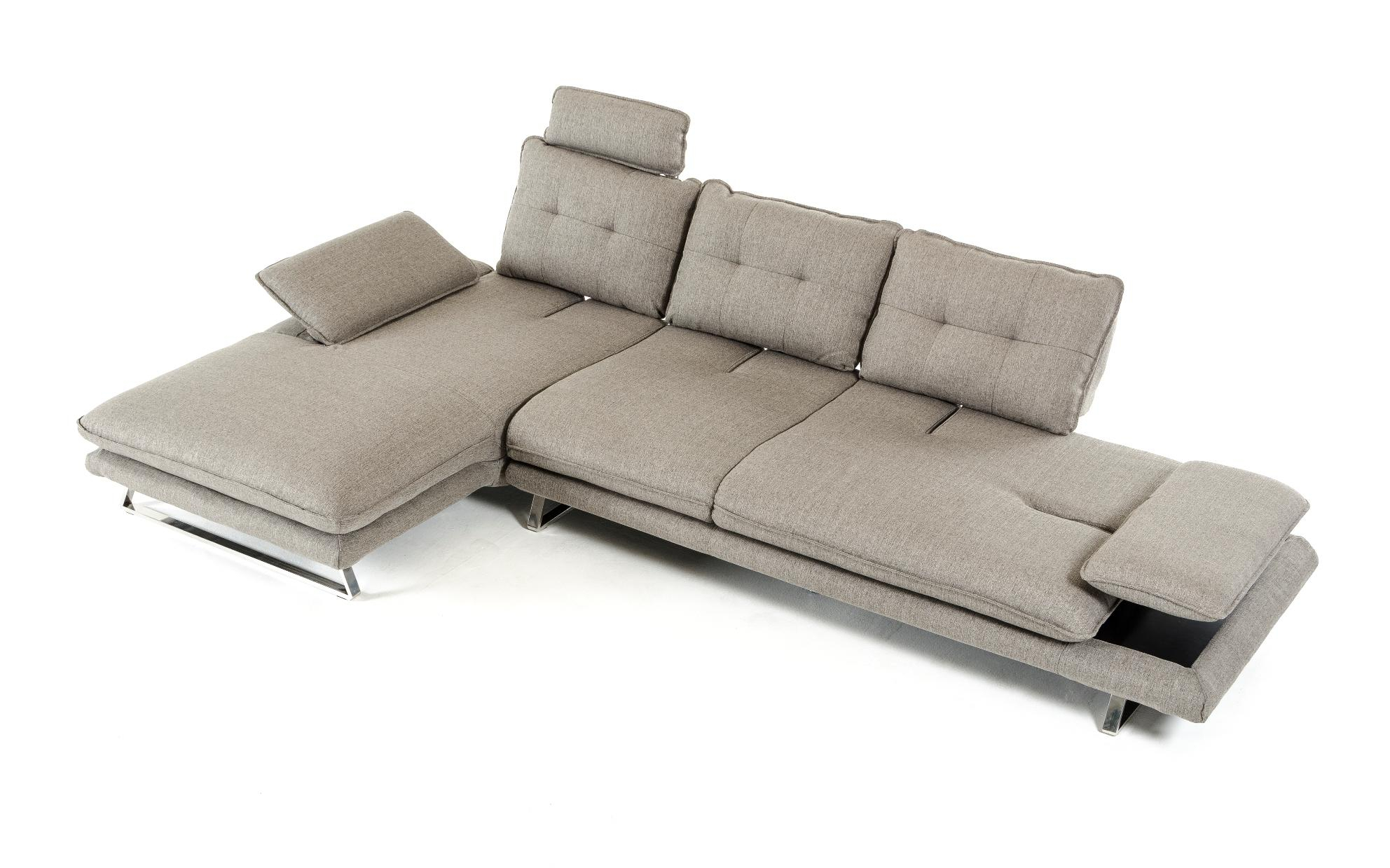 Grey Fabric Tufted Sectional Sofa Vig Divani Casa Porter Pertaining To 2Pc Connel Modern Chaise Sectional Sofas Black (View 15 of 15)