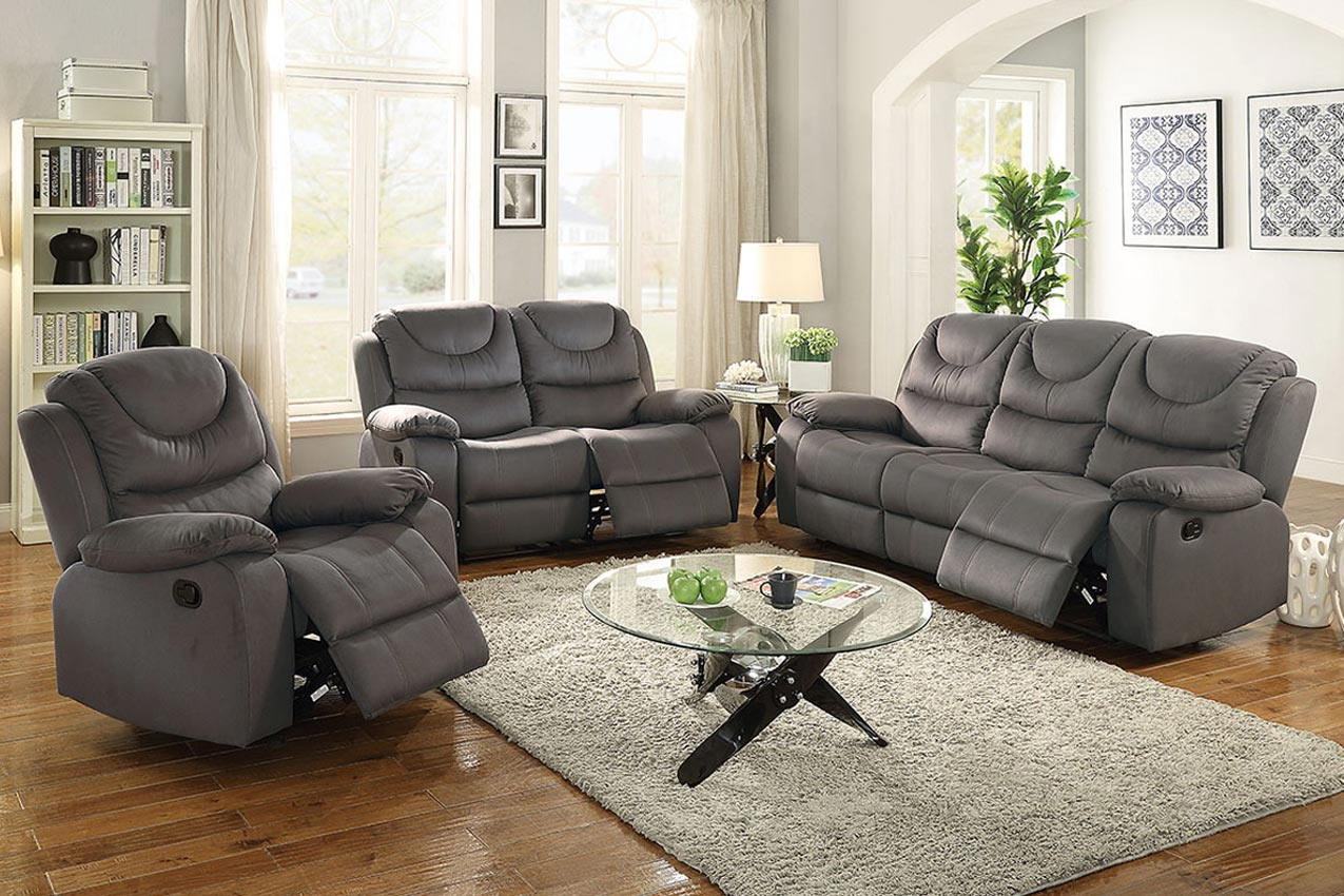 Grey Motion Recliner Sofa  Umff6763 Throughout Grey Sofa Chairs (View 13 of 15)