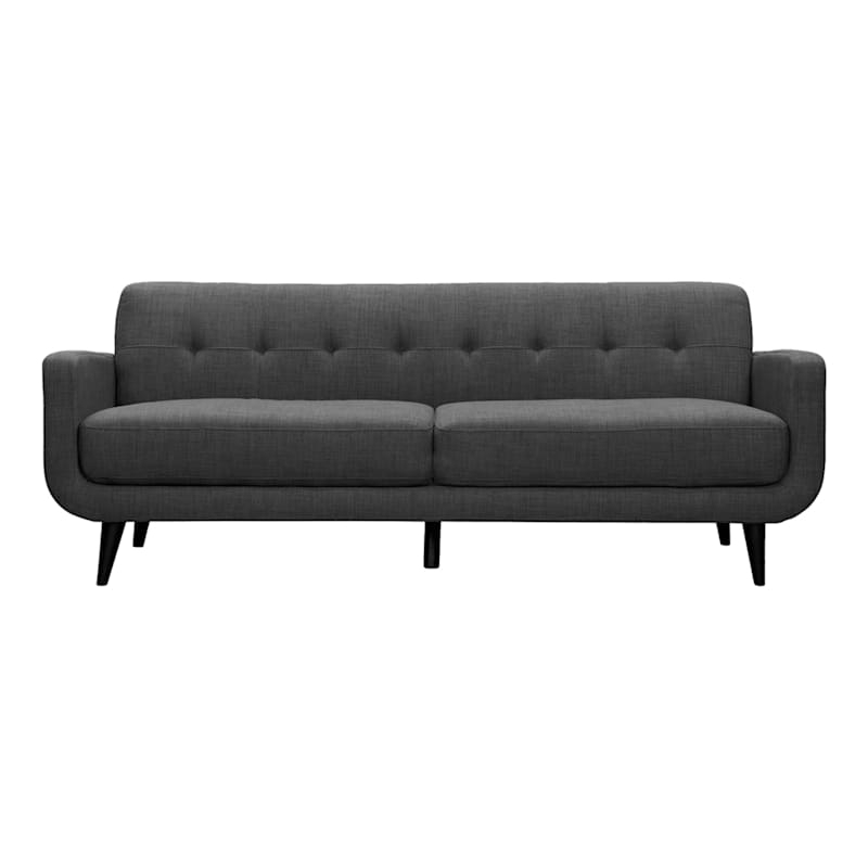 """Hadley Charcoal Grey Tufted Back Sofa, 85""""   At Home Inside Hadley Small Space Sectional Futon Sofas (View 10 of 15)"""