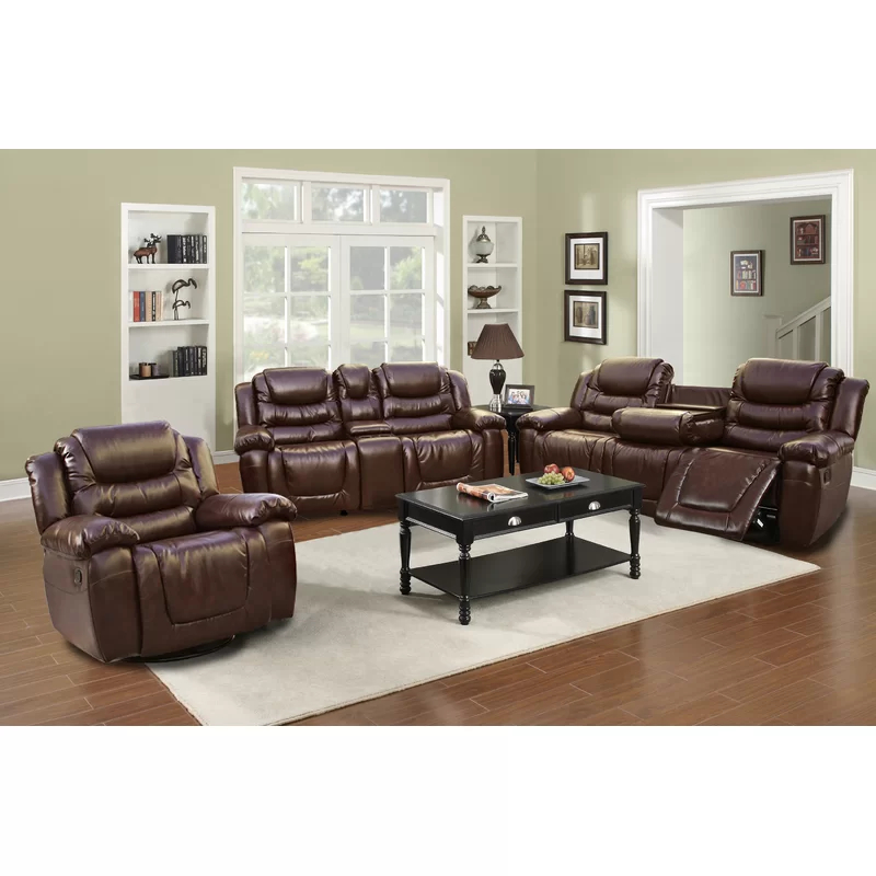 Haiden 3 Piece Reclining Living Room Set In 2020   Living Regarding Bonded Leather All In One Sectional Sofas With Ottoman And 2 Pillows Brown (View 12 of 15)