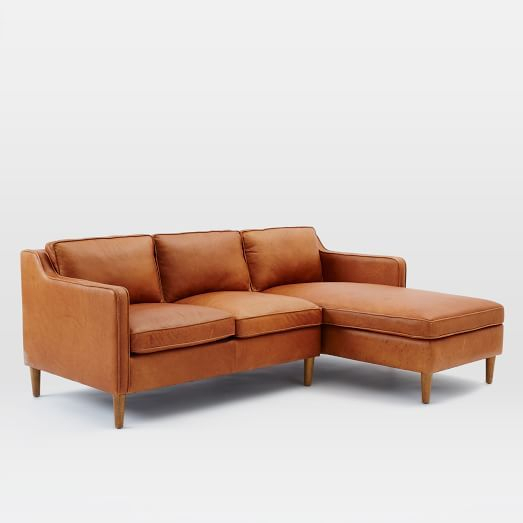 Hamilton 2 Piece Leather Chaise Sectional | Leather Chaise Intended For 2Pc Burland Contemporary Chaise Sectional Sofas (View 7 of 15)